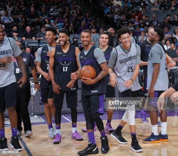 George Hill of the Sacramento Kings smiles and laughs at the Sacramento Kings Fan Fest on October 15 2017 at Golden 1 Center in Sacramento California...