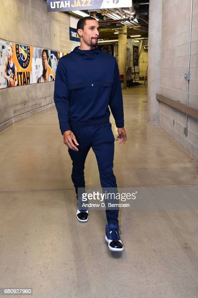 George Hill of the Utah Jazz arrives at the arena before Game Three of the Western Conference Semifinals against the Golden State Warriors during the...