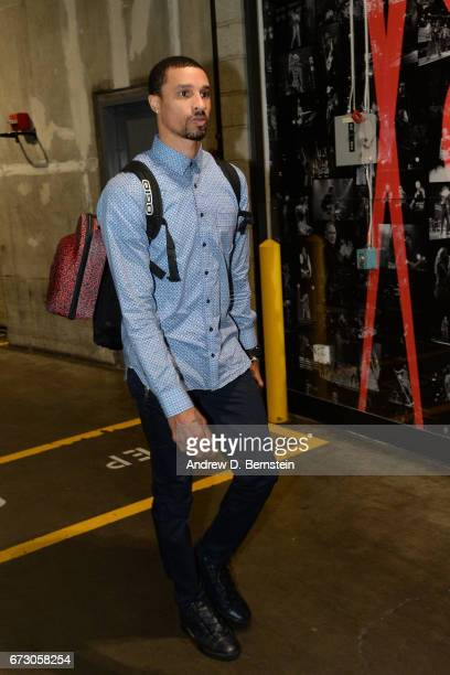 George Hill of the Utah Jazz arrives before the game against the LA Clippers in Game Five of the Western Conference Quarterfinals of the 2017 NBA...