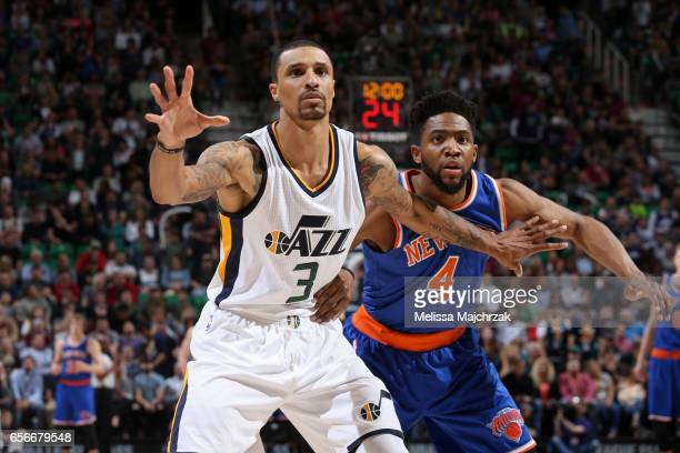 George Hill of the Utah Jazz calls for the ball against the New York Knicks on March 22 2017 at vivintSmartHome Arena in Salt Lake City Utah NOTE TO...