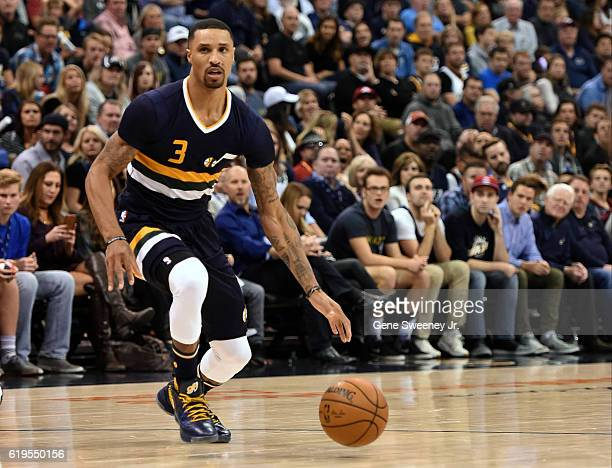 George Hill of the Utah Jazz controls the ball during their game against the Los Angeles Lakers at Vivint Smart Home Arena on October 28 2016 in Salt...