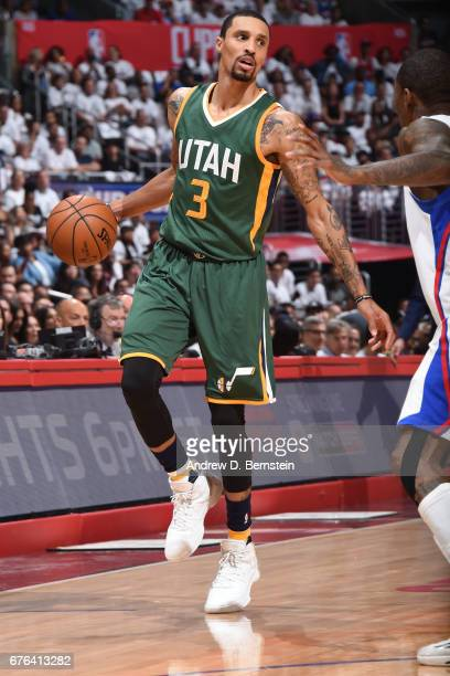 George Hill of the Utah Jazz dribbles the ball against the LA Clippers during Game Seven of the Western Conference Quarterfinals of the 2017 NBA...