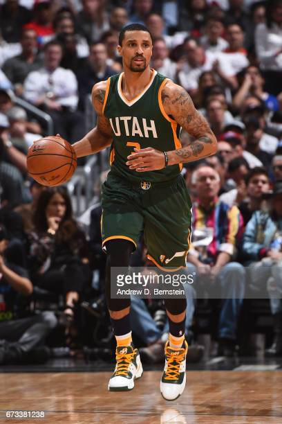 George Hill of the Utah Jazz dribbles the ball up court against the LA Clippers in Game Five of the Western Conference Quarterfinals of the 2017 NBA...