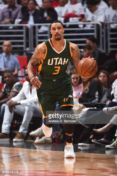 George Hill of the Utah Jazz dribbles the ball up cout against the LA Clippers during Game Seven of the Western Conference Quarterfinals of the 2017...