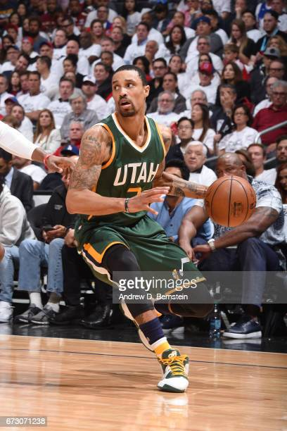 George Hill of the Utah Jazz handles the ball against the LA Clippers in Game Five of the Western Conference Quarterfinals of the 2017 NBA Playoffs...