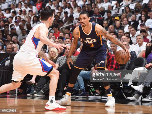 George Hill of the Utah Jazz handles the ball against the LA Clippers during Game Two of the Western Conference Quarterfinals of the 2017 NBA...