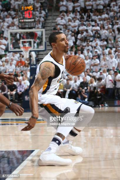 George Hill of the Utah Jazz handles the ball against the LA Clippers during Game Four of the Western Conference Quarterfinals of the 2017 NBA...