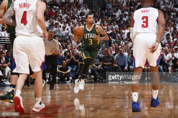 George Hill of the Utah Jazz handles the ball against the LA Clippers during Game Seven of the Western Conference Quarterfinals of the 2017 NBA...