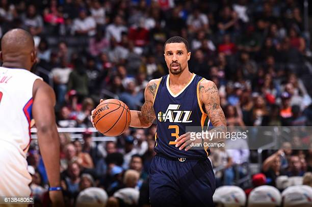 George Hill of the Utah Jazz handles the ball against the Los Angeles Clippers during a preseason game on October 10 2016 at STAPLES Center in Los...