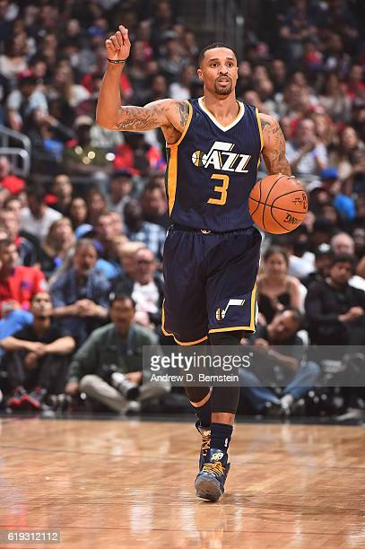 George Hill of the Utah Jazz handles the ball against the Los Angeles Clippers on October 30 2016 at STAPLES Center in Los Angeles California NOTE TO...