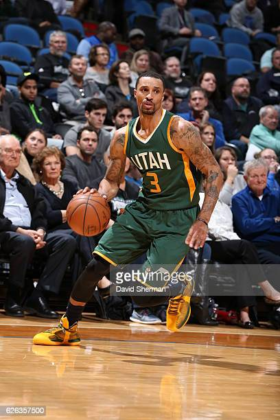 George Hill of the Utah Jazz handles the ball against the Minnesota Timberwolves on November 28 2016 at Target Center in Minneapolis Minnesota NOTE...