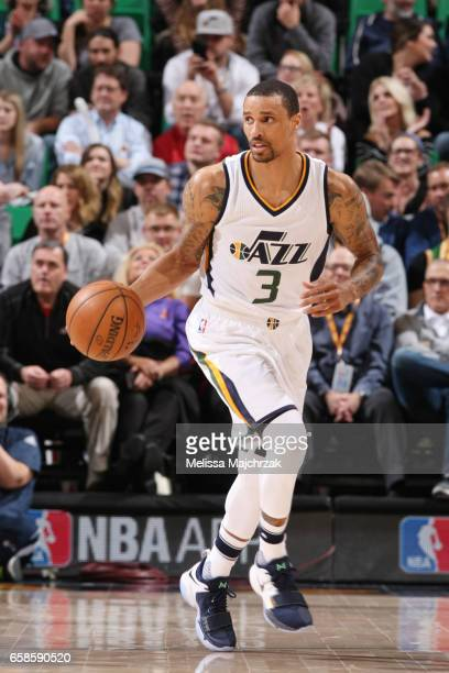George Hill of the Utah Jazz handles the ball against the New Orleans Pelicans during the game on March 27 2017 at vivintSmartHome Arena in Salt Lake...