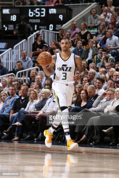 George Hill of the Utah Jazz handles the ball against the New York Knicks on March 22 2017 at vivintSmartHome Arena in Salt Lake City Utah NOTE TO...