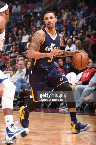 George Hill of the Utah Jazz handles the ball during a game against the LA Clippers on March 25 2017 at STAPLES Center in Los Angeles California NOTE...