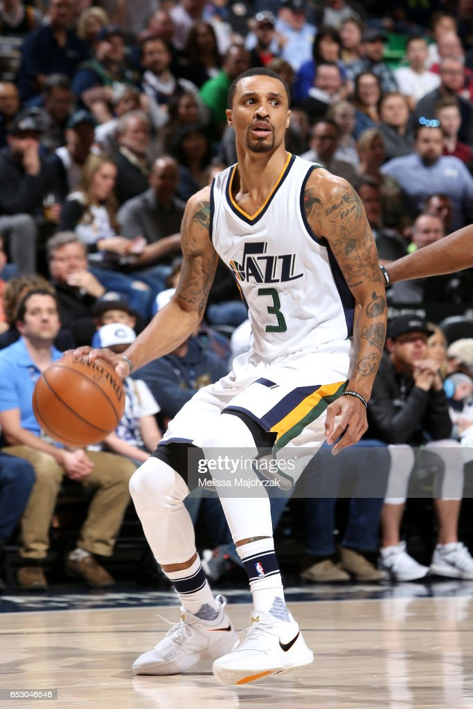 George Hill #3 of the Utah Jazz handles the ball during the game against the Los Angeles Clippers on March 13, 2017 at EnergySolutions Arena in Salt Lake City, Utah.