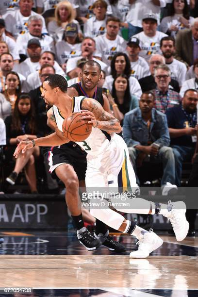 George Hill of the Utah Jazz handles the ball during the game against the LA Clippers in Game Four during the Western Conference Quarterfinals of the...