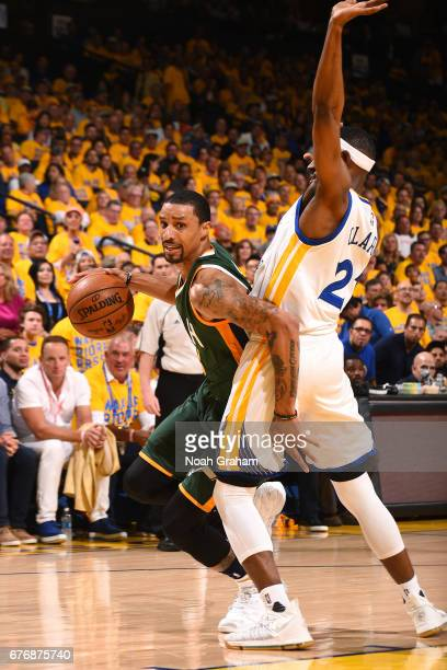 George Hill of the Utah Jazz handles the ball during the game against the Golden State Warriors during Game One of the Western Conference Semifinals...