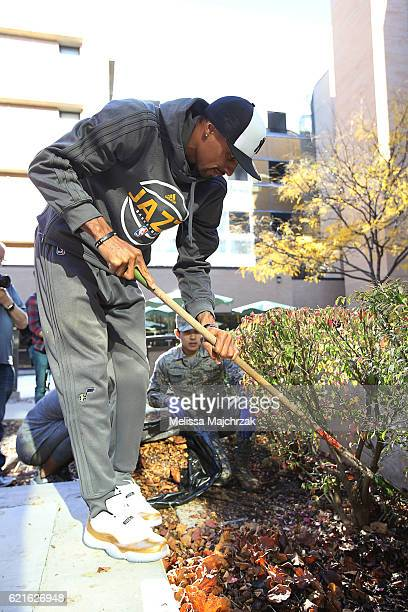 George Hill of the Utah Jazz helps out during the Hands on Commitment to Service project at George E Whalen Veterans Affairs Medical Center on...