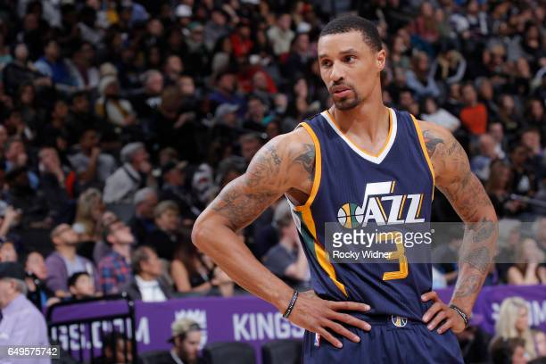 George Hill of the Utah Jazz looks on during the game against the Sacramento Kings on March 5 2017 at Golden 1 Center in Sacramento California NOTE...