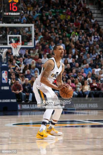 George Hill of the Utah Jazz looks to shoot the ball against the New York Knicks on March 22 2017 at vivintSmartHome Arena in Salt Lake City Utah...