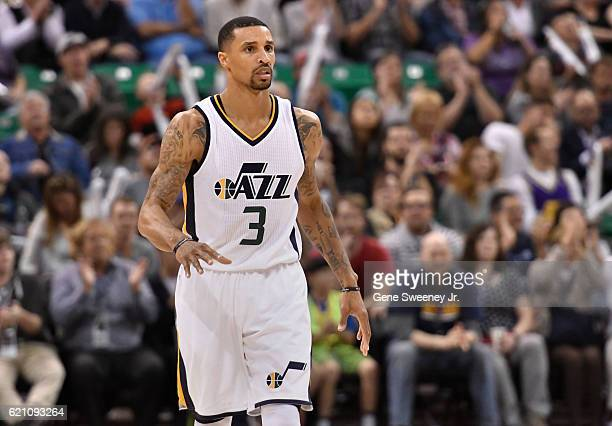 George Hill of the Utah Jazz looks up court during the game between the Jazz and the Dallas Mavericks at Vivint Smart Home Arena on November 2 2016...