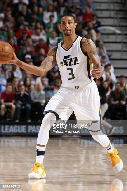 George Hill of the Utah Jazz passes the ball against the New York Knicks on March 22 2017 at vivintSmartHome Arena in Salt Lake City Utah NOTE TO...
