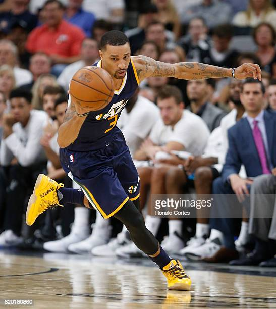 George Hill of the Utah Jazz pushes the ball during game between Utah Jazz and the San Antonio Spurs at ATT Center on November 1 2016 in San Antonio...