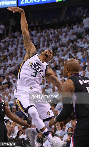 George Hill of the Utah Jazz reacts after he was fouled in the first half against the Los Angeles Clippers in Game Six of the Western Conference...