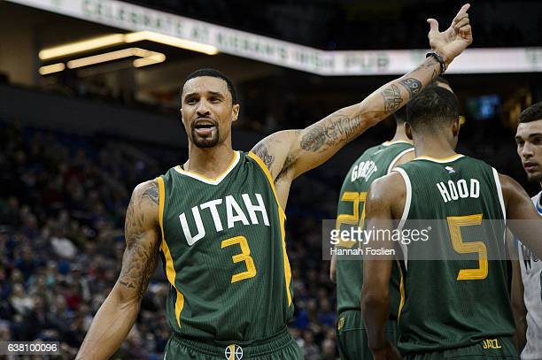 George Hill of the Utah Jazz reacts to a call during the game against the Minnesota Timberwolves on January 7 2017 at the Target Center in...