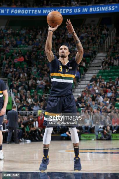 George Hill of the Utah Jazz shoots a free throw against the Boston Celtics on February 11 2017 at vivintSmartHome Arena in Salt Lake City Utah NOTE...