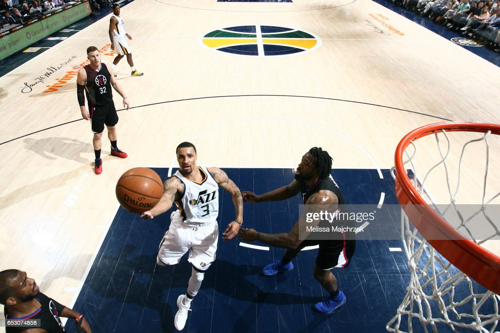 George Hill #3 of the Utah Jazz shoots a lay up during the game against the Los Angeles Clippers on March 13, 2017 at EnergySolutions Arena in Salt Lake City, Utah.