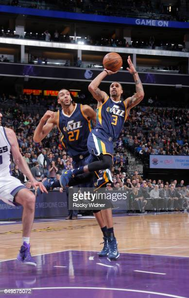 George Hill of the Utah Jazz shoots against the Sacramento Kings on March 5 2017 at Golden 1 Center in Sacramento California NOTE TO USER User...