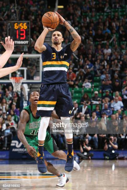George Hill of the Utah Jazz shoots the ball against the Boston Celtics on February 11 2017 at vivintSmartHome Arena in Salt Lake City Utah NOTE TO...