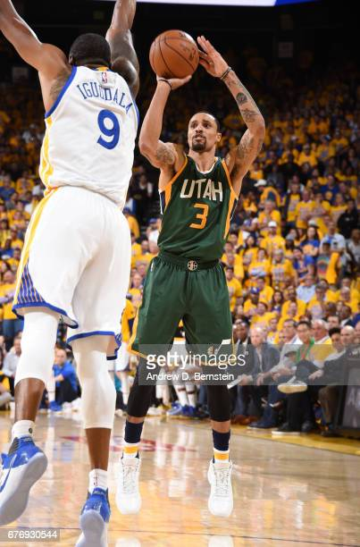 George Hill of the Utah Jazz shoots the ball against the Golden State Warriors during Game One of the Western Conference Semifinals of the 2017 NBA...