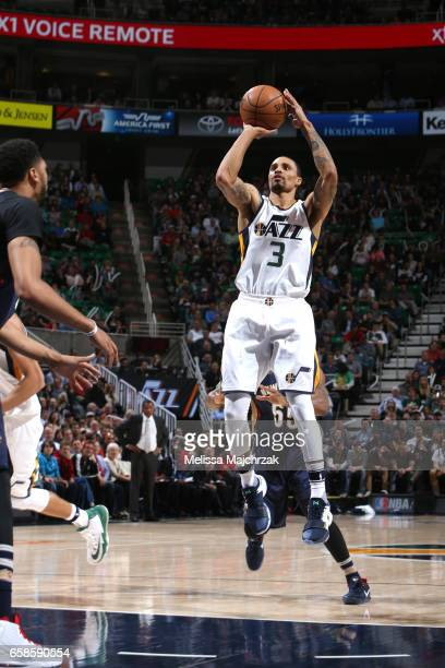 George Hill of the Utah Jazz shoots the ball against the New Orleans Pelicans during the game on March 27 2017 at vivintSmartHome Arena in Salt Lake...