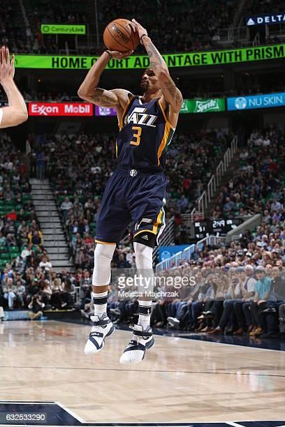 George Hill of the Utah Jazz shoots the ball against the Oklahoma City Thunder against the Oklahoma City Thunder on January 23 2017 at...