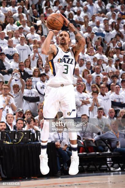 George Hill of the Utah Jazz shoots the ball during the game against the Los Angeles Clippers during the Western Conference Quarterfinals of the 2017...