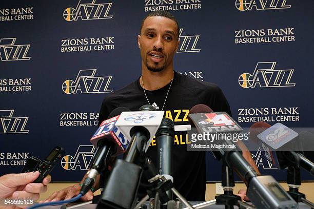 George Hill of the Utah Jazz speaks to the press about his new contract with the Utah Jazz at Zions Bank Basketball Center on July 08 2016 in Salt...