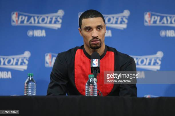 George Hill of the Utah Jazz talks to the media during a press conference after Game Six of the Western Conference Quarterfinals against the LA...