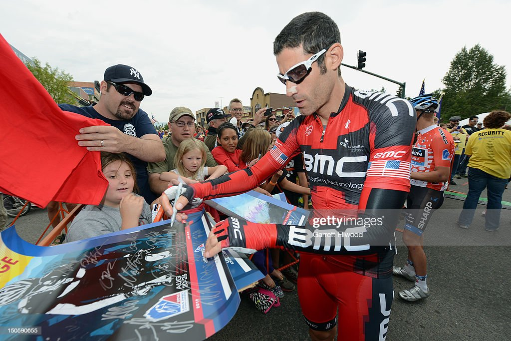 George Hincapie of the United States riding for BMC Racing signs autographs prior to the start of Stage Three of the USA Pro Challenge from Gunnison to Aspen on August 22, 2012 in Gunison, Colorado.