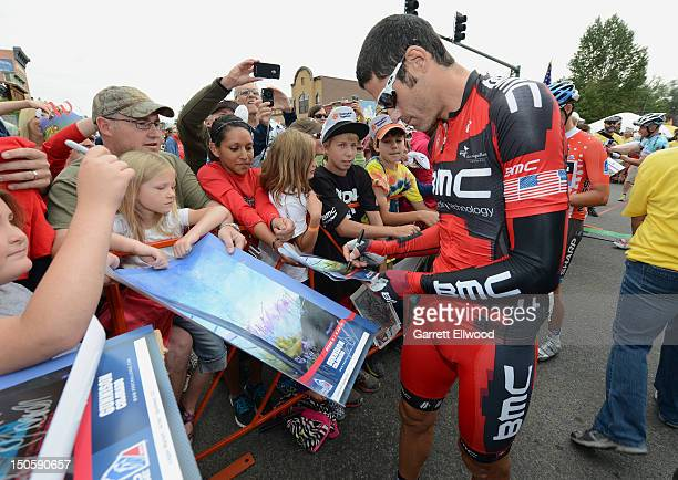 George Hincapie of the United States riding for BMC Racing signs autographs prior to the start of Stage Three of the USA Pro Challenge from Gunnison...