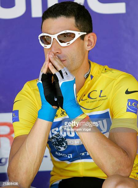 George Hincapie of the USA and Discovery Team relaxes before Stage 2 of the 93rd Tour de France between Obernai and EschsurAlzette on July 3 2006 in...