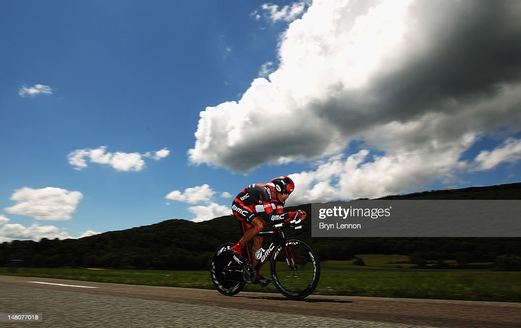 George Hincapie of the USA and the BMC Racing Team in action during stage nine of the 2012 Tour de France, a 41.5km individual time trial, from Arc-et-Senans to Besancon on July 9, 2012 in Besancon, France.