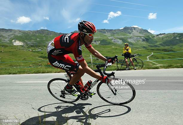 George Hincapie of the USA and the BMC Racing Team in action during stage eleven of the 2012 Tour de France from Albertville to La Toussuire on July...