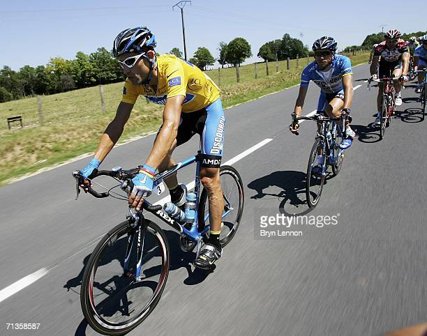 George Hincapie of the USA and the Discovery Channe team in action during stage 2 of the 93rd Tour de France from Obernai to EschsurAlzette on July 3...