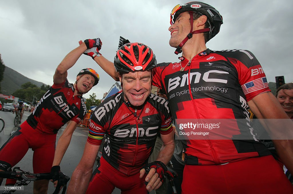 <a gi-track='captionPersonalityLinkClicked' href=/galleries/search?phrase=George+Hincapie&family=editorial&specificpeople=534468 ng-click='$event.stopPropagation()'>George Hincapie</a> (R) of the USA riding for BMC Racing celebrates his victory with teammate <a gi-track='captionPersonalityLinkClicked' href=/galleries/search?phrase=Cadel+Evans&family=editorial&specificpeople=661127 ng-click='$event.stopPropagation()'>Cadel Evans</a> (C) of Australia and Jeff Louder (L) of the USA in stage two of the 2011 USA Pro Cycling Challenge from Gunnison to Aspen on August 24, 2011 in Aspen, Colorado.