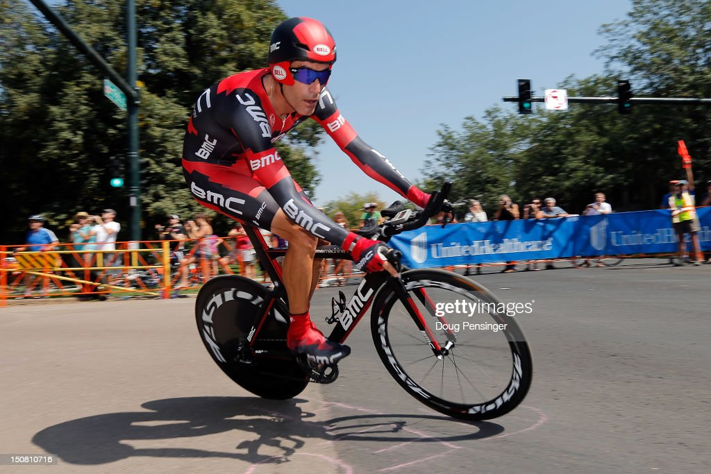 <a gi-track='captionPersonalityLinkClicked' href=/galleries/search?phrase=George+Hincapie&family=editorial&specificpeople=534468 ng-click='$event.stopPropagation()'>George Hincapie</a> of the USA riding for BMC Racing competes in the final race of his career as he races 23rd place in the individual time trial during stage seven and 41st place in the general classification of the USA Pro Challenge on August 26, 2012 in Denver, Colorado.