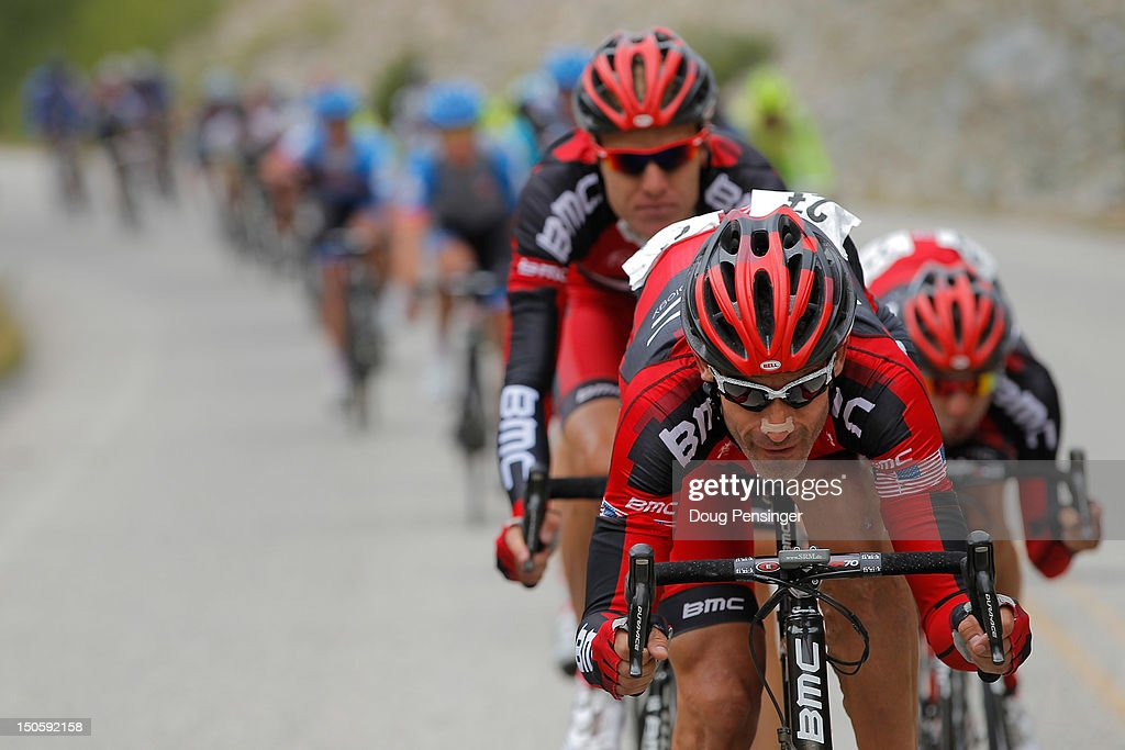 <a gi-track='captionPersonalityLinkClicked' href=/galleries/search?phrase=George+Hincapie&family=editorial&specificpeople=534468 ng-click='$event.stopPropagation()'>George Hincapie</a> of the USA riding for BMC Racing drives the peloton in an attempt to defend the overall race leader's yellow jersey for Tejay Van Garderen during stage three of the USA Pro Challenge from Gunnison to Aspen on August 22, 2012 in Buena Vista, Colorado. Van Garderen lost the yellow jersey to Christian Vande Velde in the stage.