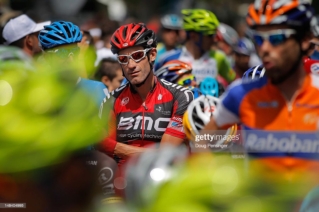 George Hincapie of the USA riding for BMC Racing prepares for the start of stage fourteen of the 2012 Tour de France from Limoux to Foix on July 15, 2012 in Limoux, France. Hincapie is racing in a record 17th Tour de France.