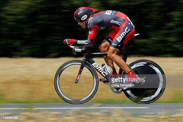 George Hincapie of the USA riding for BMC Racing races to 34th place in the individual time trial during stage nineteen of the 2012 Tour de France...